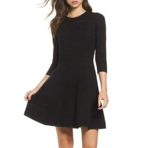 Eliza J Fit & Flare Black Sweater Dress Size Small